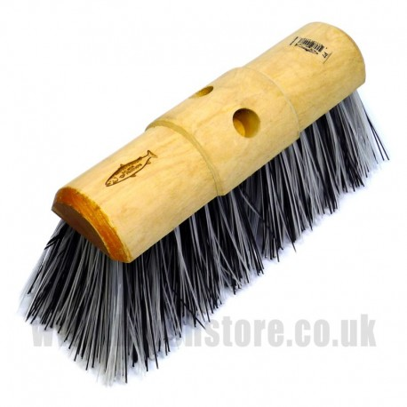 "13"" Black & White Plastic Broom Head"