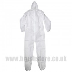 White Hooded Disposable Boilersuit Medium