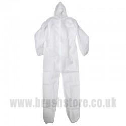 White Hooded Disposable Boilersuit Medium