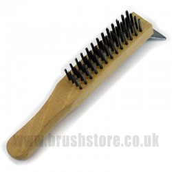 4 Row Professional Steel Wire Brush with Scraper